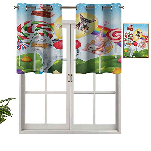 Blackout Curtain Valances, Thermal Insulated Short Grommet Curtain Panels Colorful Fantasy Land Rainbow Candy Trees Cat Dog Fairy Girl Boy Flying in Suitcase, Set of 1, 54'x18' for Kitchen Bathroom