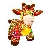 Bstaofy LED Giraffe Stuffed Plush Light Up Jungle Pal Toy Glow in Dark Luminous Birthday Christmas Festival Gift for Kids Friends, 12.5''