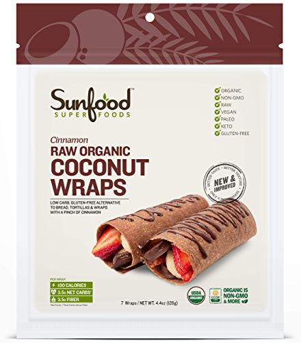 Sunfood Superfoods Raw Organic Coconut Wraps - Natural Cinnamon Flavor - Low Carb Gluten-Free Alternative to Bread, Tortilla & Wraps - New & Improved: Best in Taste & Texture - Paleo, Keto - 7 Count