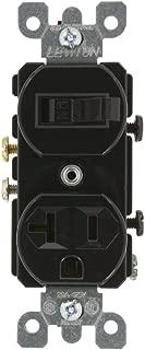 Leviton 5335 20 Amp, 120 Volt, Duplex Style Combination Single Pole Switch/Receptacle, Grounding, Black