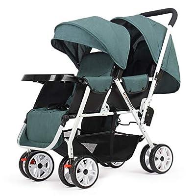 XYSQ Doble Baby Trend Cochecito, Los Bebés Gemelos Cochecito De Niño En El Frente Y Parte Posterior, Cómoda Y Grande, Plegable Convertible Transpirable Carretilla-Blue (Color : Green)