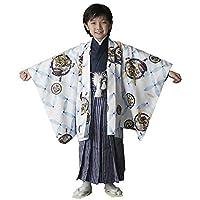 七五三 男の子 5歳 袴 七宝 着物 セット 羽織袴セット はかま フルセット 5歳 5才 五歳 着物セット 販売 アジャスター付きで簡単に着れる袴