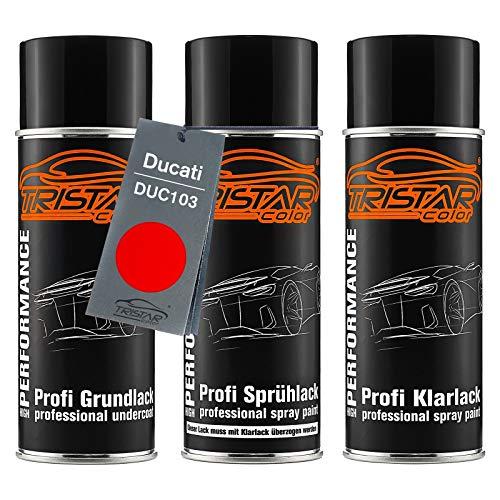TRISTARcolor Motorradlack Spraydosen Set für Ducati DUC103 Rosso 3C Grundlack Basislack Klarlack Sprühdose 400ml