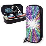 Estuche para lápices de cuero de color arcoíris Estuche para lápices de gran capacidad Porta lápices grande Bolsa de maquillaje Cremalleras dobles s Est