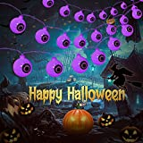 Halloween Eyeball String Lights,16.4ft 30LED Battery Operated Ghost Decorative Lights,Waterproof Halloween Lights for Outdoor Indoor Party Christmas Halloween Decoration(Purple)