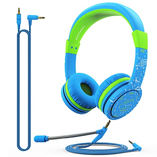 FosPower Kids Headphones with Microphone & 3.5mm Detachable Cables (Max 85dB) Adjustable On Ear Audio Headphones with Laced Tangle Free Cable for Home School, Online School, Travel - Blue/Green