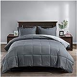 Satisomnia Lightweight Bed Comforter Set Queen Gray Summer Comforters Set Down Alternative Reversible All Season 3 Piece-1 Comforter 2 Pillow Sham Full / Queen Size Dark Gray / Light Grey 90x90 in