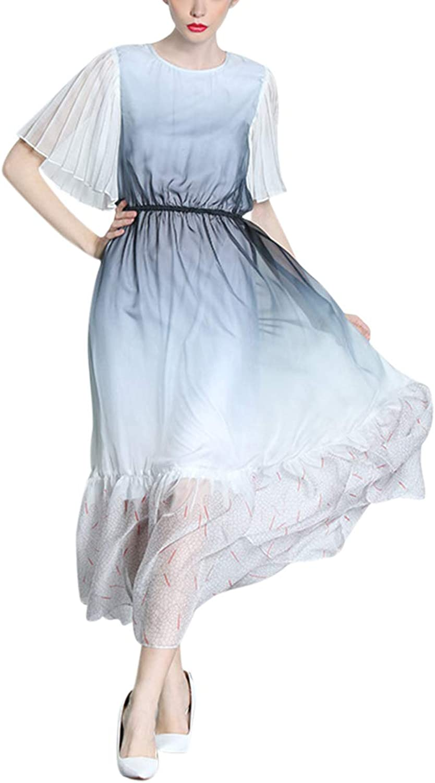 Gradient ONeck Shirt Lace Up Short Sleeve Elegant Swing Women's Midi Dress