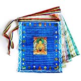 iShyan Tibetische Gebetsfahne für den Außenbereich, buddhistische Meditationsflagge, Satin, Windpferd, Lungta-Gebetsfahne, 27,9 x 35,6 cm Multi Mehrfarbig