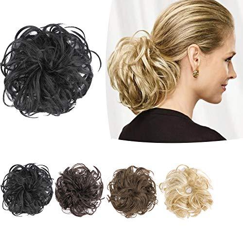 PrettyWit Haarteile Kurze lockige Haarverlängerung flauschig chaotisch Haarknoten Hochsteckfrisuren Haarteil Perücke Zopf Brautschmuck Schwarz 1