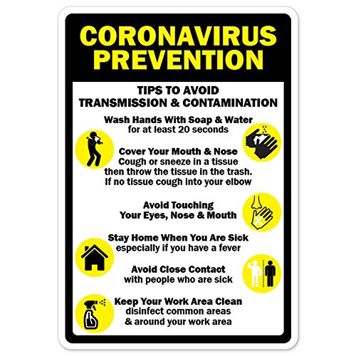 COVID-19 Notice Sign - Coronavirus Prevention Tips to Avoid Transmission | Vinyl Decal | Protect Your Business, Municipality, Home & Colleagues | Made in The USA