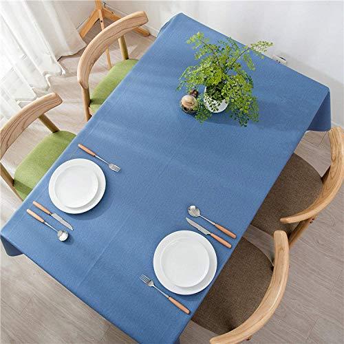 GTWOZNB fácil de Limpiar, para jardín, Habitaciones, decoración de Mesa, PVC de Color Puro a Prueba de Agua y Aceite-Azul Marino_Los 90 * 140cm