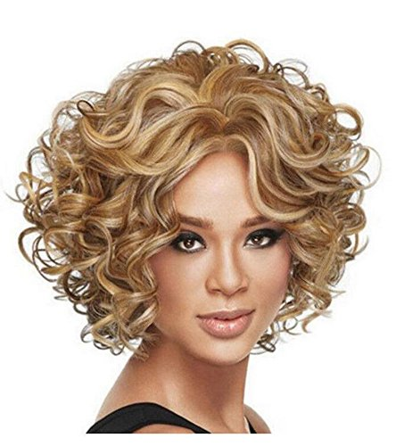 Diy-Wig Short Curly Wavy Blonde Wig for Women Synthetic Cosplay Wig Halloween Costume sandy grease wig