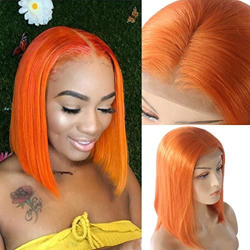 Myfashionhair Human Hair Lace Front Wigs Human Hair Glueless Hair Wig Real Human Hair 8 inch 180% Density Wigs Lace Front Human Hair with 13x4 Swiss Lace and Adjustable Cap (Orange)