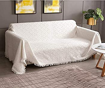 RHF Geometrical Sofa Cover Couch Cover Couch Covers for 3 Cushion Couch Sectional Couch Covers Sofa Covers for Living Room Couch Covers for Dogs Couch Protector X-Large Beige