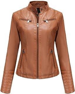 N\P Chaqueta de piel para mujer de corte ajustado, con cremallera, chaqueta fina de punto