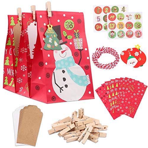 Oladwolf 2020 Adventskalender zum befüllen Kinder, Weihnachten Geschenktaschen, 1-24 Adventszahlen Aufkleber, Adventskalender 24 Kraftpapiertüten, 24 Miniklammern und Weihnachten Hangtags