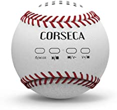 CORSECA Baseball Bluetooth Speakers, Wireless Portable Bluetooth, 5W Superior Sound with Handcrafted Leather-Feel, Stereo Pairing for Surround Sound, for Sports, Travel, Shower, Beach, Party (White)