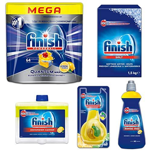 Finish Quantum MAX Lemon SET - Small Kit - Kit zur Reinigung von Geschirrspülern - Inbegriffen: Spülmaschinentabs, Salz, Klarspüler, Spülmaschinenreiniger, Spülmaschinen-Deo
