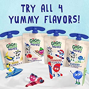 GoGo squeeZ yogurtZ, Variety Pack (Blueberry/Berry), 3 Ounce (60 Pouches), Low Fat Yogurt, Gluten Free, Pantry-friendly, Recloseable, BPA Free Pouches #1