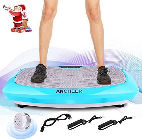 ANCHEER Vibrationsplatte Ganzkörper Trainingsgerät, 3D Vibrationsgerät mit Großer Rutschsicherer Trainingsfläche + Innovativer Vibration + LCD Display + Fernbedienung + Trainingsbänder, max.120kg