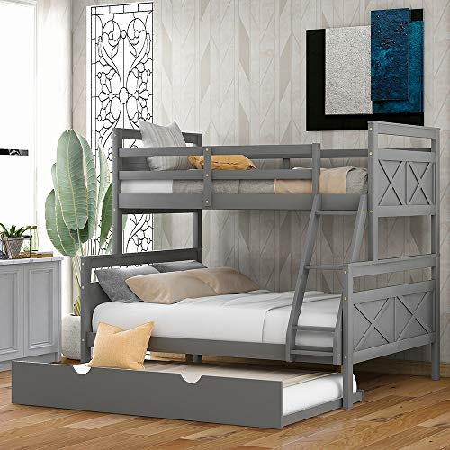 Twin Over Full Bunk Beds, Rockjame Wood Bunk Bed Frame with Trundle, Space Saving Design Bedroom Furniture with Ladder and Safety Rail for Boys, Girls, Kids, Teens and Adults (Gray)