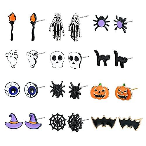 JeweBella 12 Pares Pendiente Halloween para Mujeres Calabaza Esqueleto Cráneo Cabeza Murciélago Araña Fantasma Gato Encanto Aretes de Oreja Conjunto de Joyas Decoraciones Fiesta de Tema Halloween
