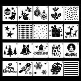 FineInno 20 Pièces Pochoir Noel Christmas Stencils Kit de Dessin Au Pochoir En Plastique Réutilisable pour Décoration de Noël, Scrapbooking