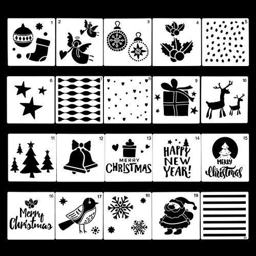 Finelnno 20 Piezas Navidad Plantillas Dibujo Niños Plástico Plantillas con Diferentes Patrones para Pinta Madera, Manualidades, Scrapbooking