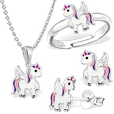 Pequeño juego de unicornio anillo colgante cadena pendientes de plata de ley 925 niños niñas Pegasus caballo