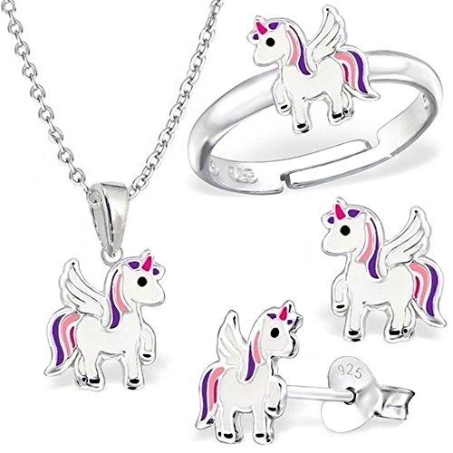 Pequeño juego de unicornio anillo colgante cadena