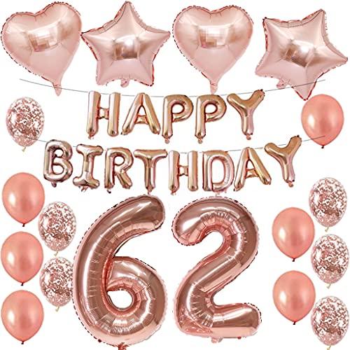 62 cumpleaños decoración mujer oro rosa 62 cumpleaños guirnalda guirnalda guirnalda globos globos 62 cumpleaños cumpleaños cumpleaños fiesta número 62 globos