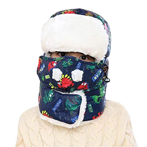 Unisex orejeras niño Niña niño 5-15años, sombrero cazador en piel artificial Invierno Térmico Gorro ruso esquí snowboard Cache oído caliente máscara antivaho pasamontañas Chapka aviador piloto