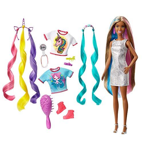 Barbie GHN05 - Fantasie Haar Puppe (brünett) mit zwei verzierten Haarreifen, zwei Oberteilen und Accessoires für Meerjungfrauen- und Einhorn-Looks, inklusive Haarstyling-Zubehör, ab 3 Jahren
