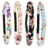 FROG SAC 4 Floral Headbands for Girls, Adjustable Braided Hairband Hair Accessories for Women, Teen Girl Cloth Fabric Head Bands for Birthday Party Favors, Kids Flower Easter Basket Stuffers (Floral)