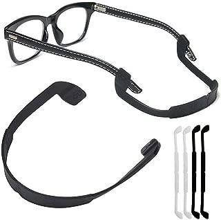 Silicone Eyeglass Strap Eyewear Retainers Sports Anti-slip Elastic Glasses Sunglass Cord Holder for Men Women Eye Protection (4Pcs/Pack[Black X 2,  White X 2])