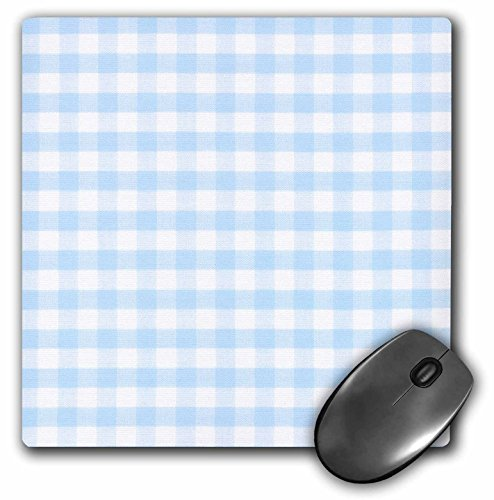 3dRose LLC 8 x 8 x 0.25 Inches Mouse Pad, Light Blue and White Gingham Pattern Pretty Country Rustic Kitchen Dining Cute Checkered Checked (mp_113018_1)
