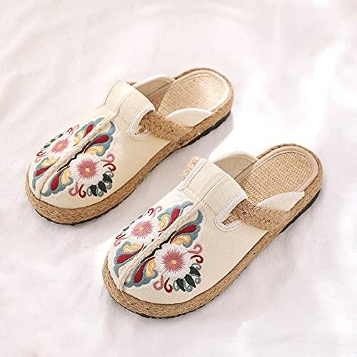 direction Zapatos de Piscina,Pantuflas Zapatos de Mujer Planos Bordados Zapatos de Paja Bordados-Beige_38#,Cómodo