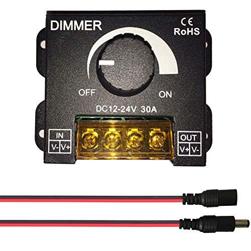 Auki 0〜100%PWM調光器、DC 12〜24V(最大30A)調光器、LEDテープライト調光スイッチコントローラー、DCモーターまたはDCファンスピードコントローラー、車内LEDライトノブ調光スイッチ,20AWG DCジャックおよびDCプラグ、5521 DCクイックコネクタ付属(サイズB)
