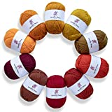 Studio Sam Acrylic Yarn Set. Ten Large 50g Skeins. Total 1030 Yards. for All Knitting, Crochet and Craft Projects. (Autumn Collection)