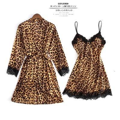 Dames Pyjama,Dames Pyjama'S Sexy Kanten Lingerie Zijde Luipaard 4-Delig Pijamas Sets Zomer Dames Homewear Loungewear Pyjama Nachtkleding Nachtkleding Borstbeschermers