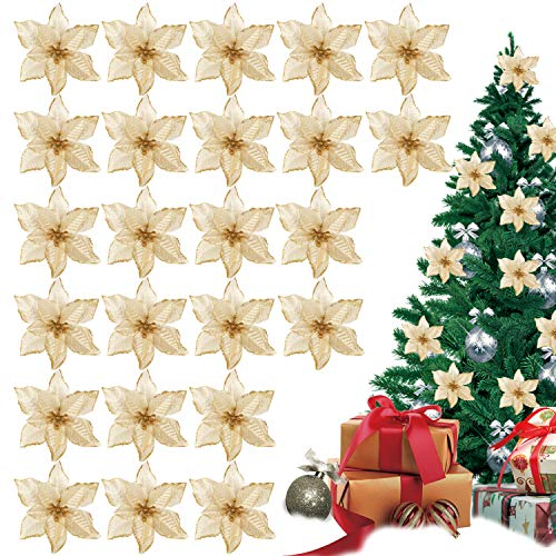 TATAFUN Glitzer Kunstblumen Christbaumschmuck Kunstblume Weihnachts Hochzeitsdekoration Blumen Weihnachtsbaumschmuck Kränze (Gold)