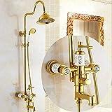 ZYY Europea Cerámica blanca Ducha impresión del conjunto de ducha de mano Sistema de cobre ducha baño completo Booster...