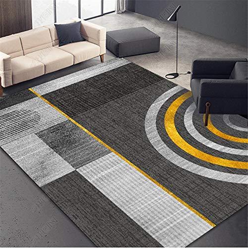 RUGYUW Alfombra Exterior Diseño Moderno Estilo geométrico Negro Gris Dorado,Moderno Decorativa Lavable Peluda Antideslizante Yoga Alfombra (1'12''X2'11''ft)