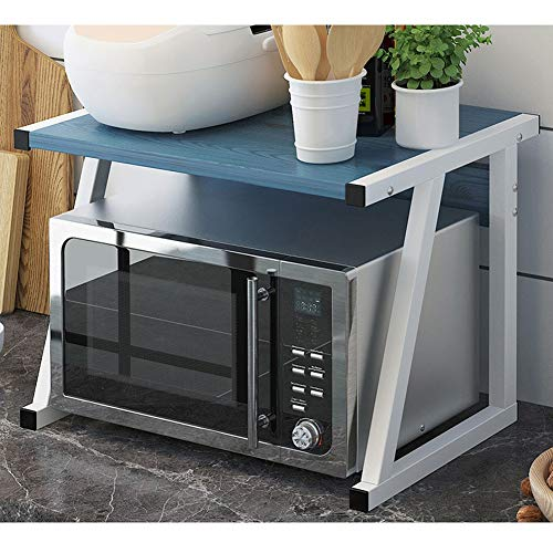MMD Mikrowellenherd-Rack Heavy Load Mikrowelle Regal einschichtiges Haken Küche-Speicher-Organisator Ständer (Color : Blue)