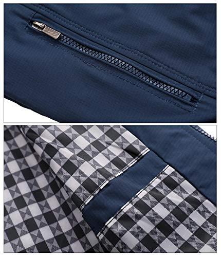 AIEOE - Cazadora para Hombre Jacket Manga Larga Bombardero Chaqueta Casual Acolchada para Otoño Primavera - Azul - Talla ES L