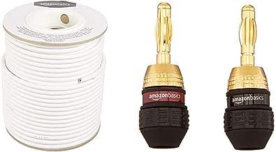 AmazonBasics Speaker Wire - 14-Gauge, 99.9% Oxygen-Free Copper, 200 Feet & Banana Plugs - 12 pairs