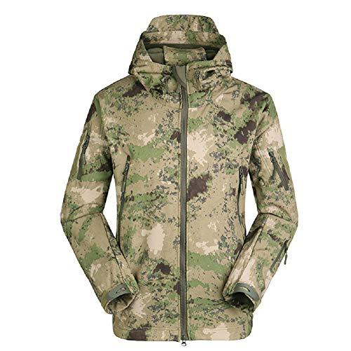 Blue yue Herren Militär Taktisch Camouflage Softshelljacken mit Kapuze Winter Warm Innenfutter Fleecejacke Outdoor Camping Wandern Winddicht Regenjacken Skijacke