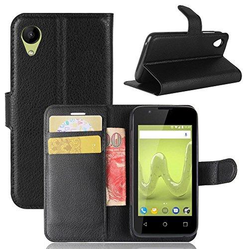 ECENCE Handy-Schutzhülle - Handytasche für Wiko Sunny 2 Schwarz - Smarthone Case Cover stoßfest mit Kartenfach - Handycase mit Stand-Funktion 24010104