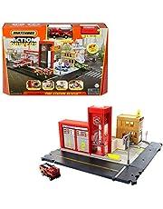 Matchbox Estación de bomberos Set de juego con sonidos para coches de juguete, modelos surtidos (Mattel HBD76)